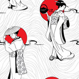 Japanese Geisha seamless pattern Stock Photos
