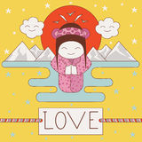 Japanese geisha in the sun, mountains, water. Vector baby card. love. Japanese geisha in the sun, mountains, water Stock Image