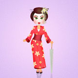 Japanese Geisha with umbrella Stock Photos