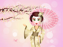 Japanese Geisha with umbrella Royalty Free Stock Photography