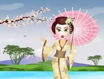 Japanese Geisha with umbrella Stock Photo