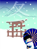 Japanese geisha in winter Royalty Free Stock Image