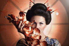 Japanese geisha woman. Portrait of a Japanese geisha woman Royalty Free Stock Images