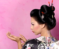 Japanese geisha woman. Portrait of a Japanese geisha woman Royalty Free Stock Photography