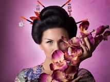 Japanese geisha woman. Portrait of a Japanese geisha woman Stock Images