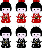 Japanese geisha wooden dolls expressions Royalty Free Stock Photo
