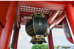 Japanese giant lantern at temple entrance. A giant lantern with very detailed texture is hanging from he roof at the temple entrance Royalty Free Stock Photos