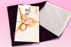 Japanese gift envelope and Crape wrapper. Stock Images