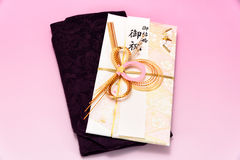 Japanese gift envelope and Crape wrapper. Royalty Free Stock Images