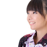 Japanese girl. Closeup portrait of Japanese girl smiling face with copyspace on white Royalty Free Stock Photos
