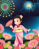 Japanese girl. Illustration of a Japanese girl at night Stock Photo