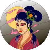 Japanese girl against moon background stained glass pattern vector illustration