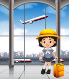 Japanese girl at the airport terminal. Illustration Stock Photography