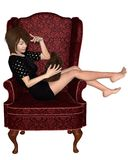 Japanese Girl in Armchair Royalty Free Stock Photos