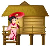 Japanese girl at the bamboo hut. Illustration vector illustration