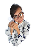 Japanese girl with big doll head with idea Royalty Free Stock Photography