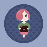 Japanese girl with a camera Royalty Free Stock Photography