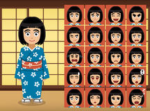 Japanese Girl Cartoon Emotion faces Vector Illustration Royalty Free Stock Image