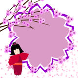 Japanese girl with cherry blossoms Stock Photo