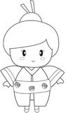 Japanese girl coloring page Stock Images