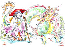 Japanese girl and  dragon Royalty Free Stock Photography