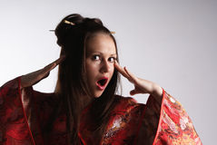 Japanese girl in a dress Stock Photography