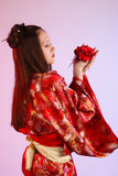 Japanese girl in a dress Royalty Free Stock Photos