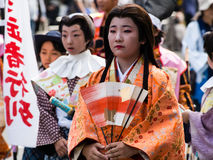 Japanese girl dressed up as court lady royalty free stock photography