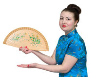 Japanese girl with fan Stock Photo