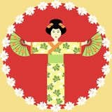 Japanese girl with fans. Japanese girl in kimono with fans Royalty Free Stock Image