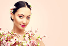 Japanese Girl and Flowers, Asian Woman Beauty Makeup, Fashion. Japanese Girl and Flowers, Asian Woman Beauty Makeup, Beautiful Fashion Model with Pink Sakura stock images