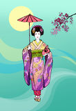 Japanese girl, geisha with umbrella Stock Photography