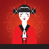 Japanese girl greets the visitor bowed, hands clasped palm to palm. Japanese girl on red kimono greets the visitor bowed, hands clasped palm to palm. Vector Royalty Free Stock Photos