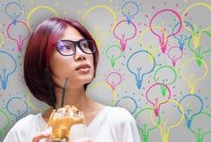 Japanese girl having many ideas bulb. Japanese girl having many colorful ideas bulb Royalty Free Stock Image