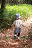 Japanese girl on a hike. 2 years old stock image
