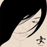 Japanese girl. Нieroglyph  Stock Image