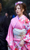 Japanese girl kimono coming of age(seijin shiki). Young Japanese girl in kimono on Coming of Age Day (seijin no hi). The Coming of Age ceremony (seijin shiki in royalty free stock image