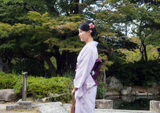 Japanese girl in kimono Stock Images