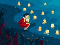 Japanese girl and lantern. Japanese girl in kimono holds bright lantern nearby the river at night stock illustration