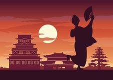 Japanese girl in national costume called Kimono stock illustration
