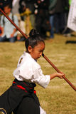 Japanese girl performing kendo, Tokyo, Japan. Little Japanese girl performing kendo during the festival of the birthday of Emperor Meiji, November 3, 2009 in Stock Photos