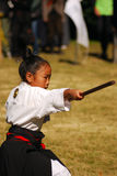 Japanese girl performing kendo, Tokyo, Japan Royalty Free Stock Image