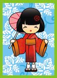 Japanese Girl in Red Kimono Vector Royalty Free Stock Photo