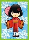 Japanese Girl in Red Kimono Vector Royalty Free Stock Photo