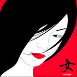 Japanese girl with red lips. Нieroglyph Stock Image