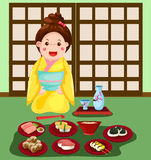 Japanese girl with set of japanese food Royalty Free Stock Photography