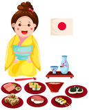 Japanese girl with set of japanese food Royalty Free Stock Photo