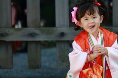 Japanese girl on Seven-Five-Three festival Royalty Free Stock Image