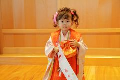 Japanese girl on Seven-Five-Three festival. 3 years old Stock Photos