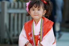 Japanese girl on Seven-Five-Three festival Royalty Free Stock Photography